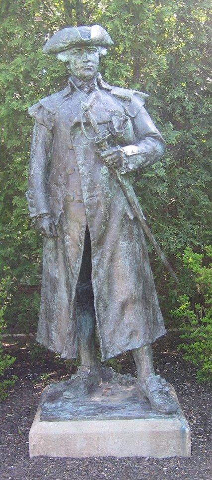 The statue of Joseph Warren as it is today on Roxbury Latin School's West Roxbury campus.