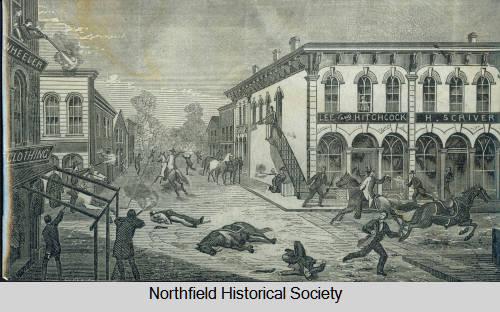 Artistic interpretation of Northfield Bank Raid, unknown artist