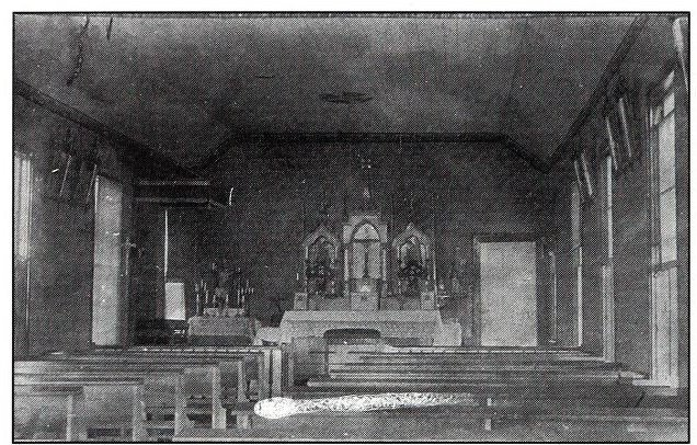 Monastery chapel used before construction of the Basilica, built in 1877. Source: Fr. Paschal Baumstein, Blessings in the Years to Come (1997).