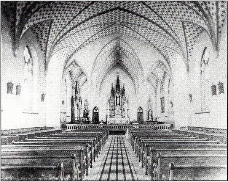 Interior of the Abbey Basilica in 1894, shortly after its construction. Source: Fr. Paschal Baumstein, Blessings in the Years to Come (1997).