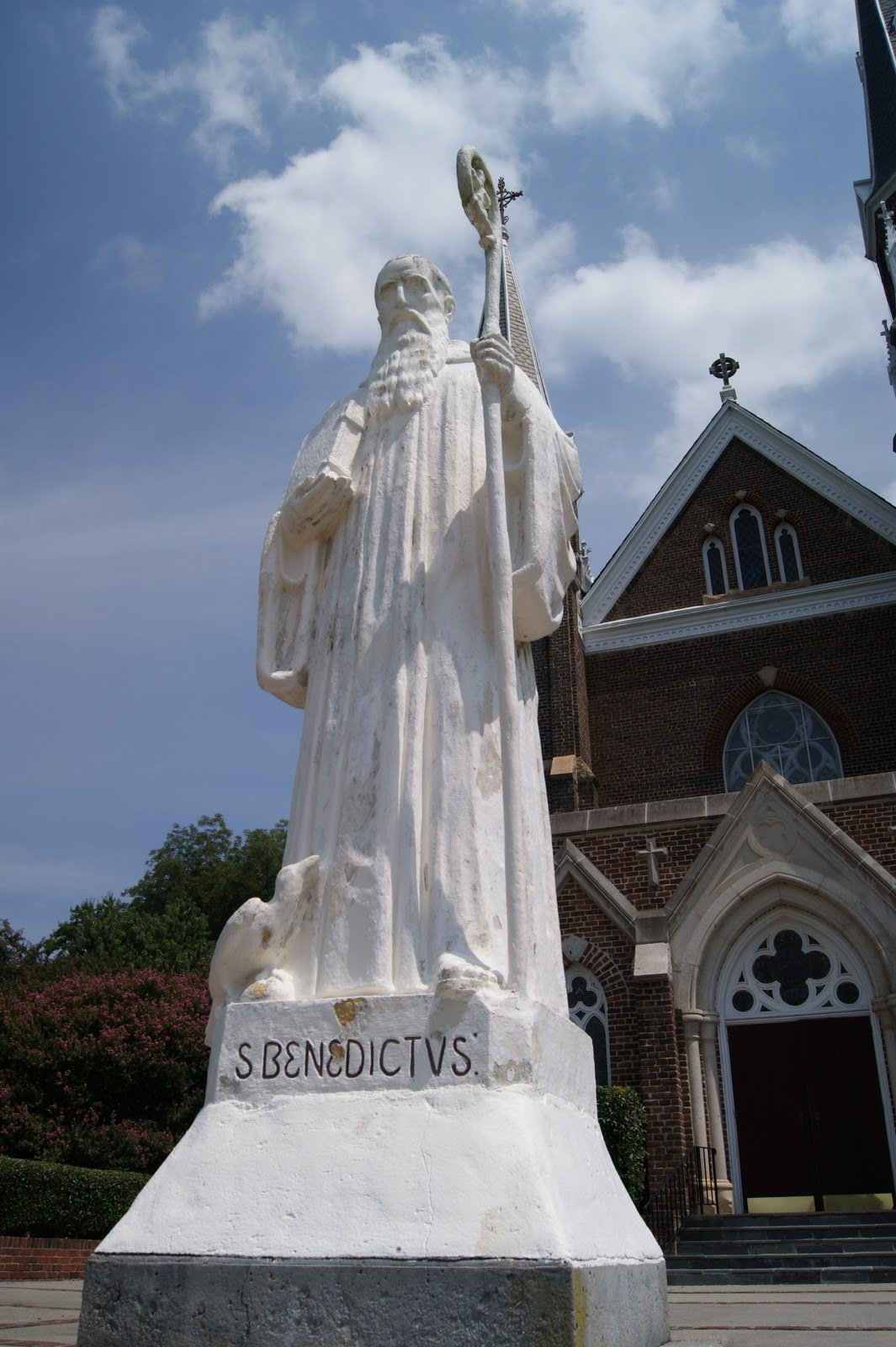 Statue of St. Benedict, founder of the Benedictine order, at the entrance of the Basilica.