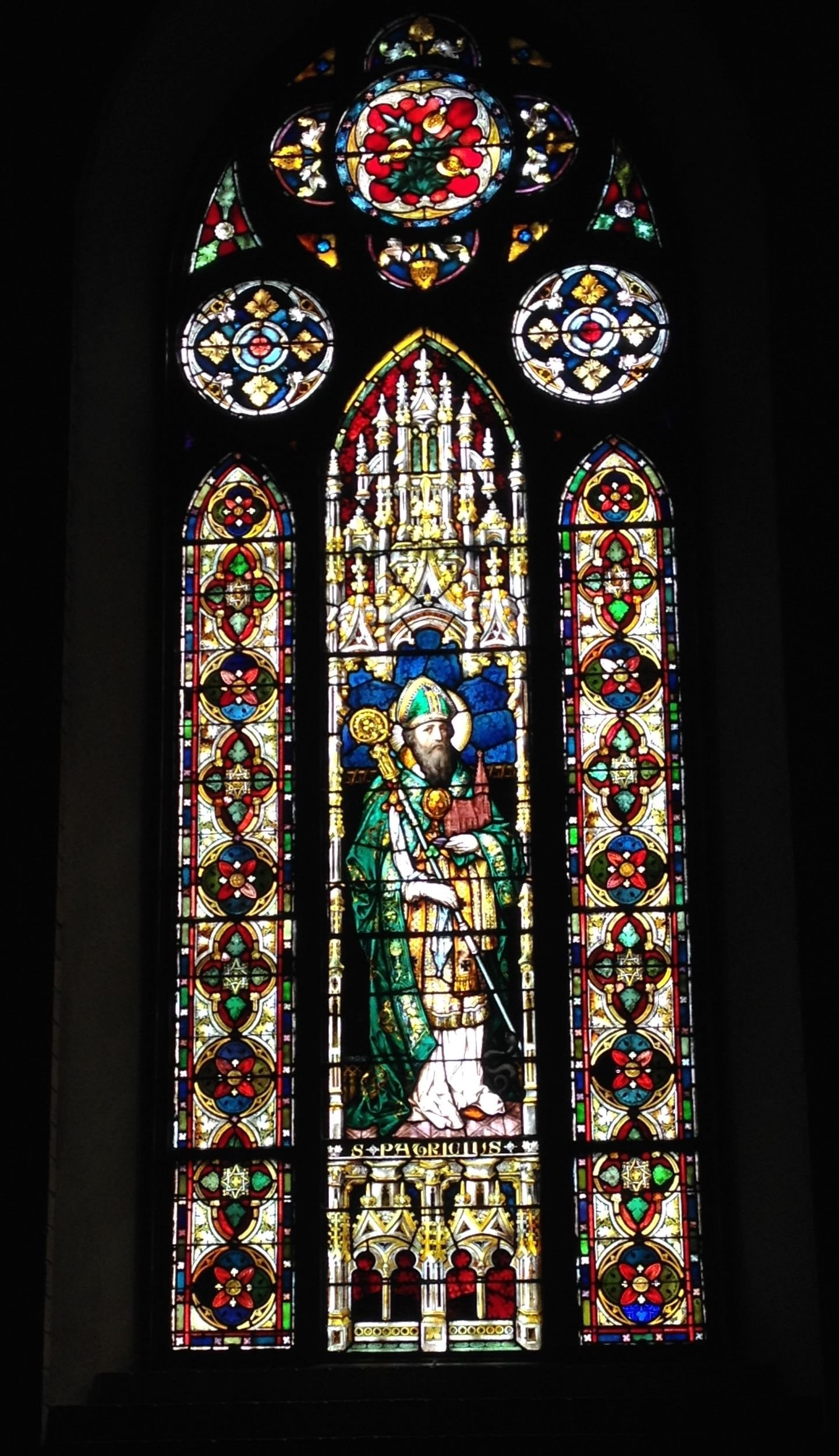 Painted window of St. Patrick, located in the interior of the Abbey Basilica. Created by the Royal Bavarian Establishment of Francis Meyer & Company in Munich, Germany, 1890s.