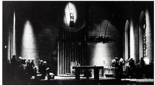 Monks of Belmont Abbey praying the Divine Office following the 1964 redesign of the Basilica interior.