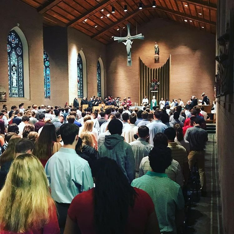 Matriculation ceremony for new students at Belmont Abbey College, 2018.
