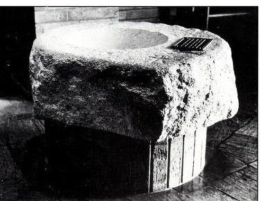 Baptismal font in the narthex of the Abbey Basilica. Fr. Paschal Baumstein, Blessings in the Years to Come (1997).