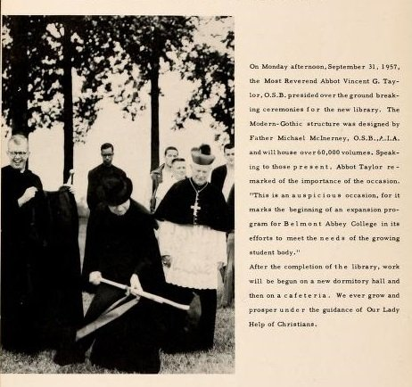 Architect Fr. Michael McInerney and Abbot Vincent Taylor at the Library's groundbreaking ceremony. Source: The Spire Yearbook, 1958.