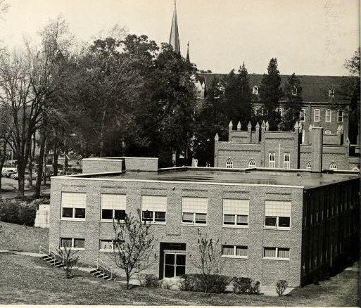 The Abbot Vincent Taylor Library along Abbey Lane and near other campus structures. Source: The Spire Yearbook, 1969.