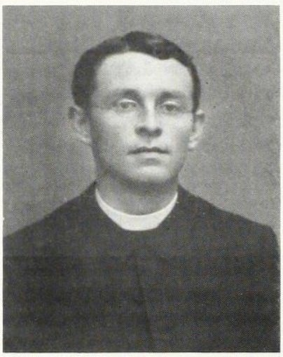 Father Francis Meyer, monk of Belmont Abbey and professor of history, German, elocution, and vocal music. His illness and recovery were the inspiration for the establishment of the Grotto. Source: Crescat, vol. 9, no. 1, Autumn 1987.