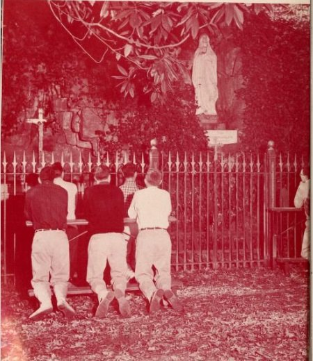 Students praying at the Grotto, 1957. Source: The Spire (Belmont, NC: Belmont Abbey College, 1957).
