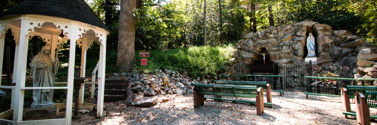Our Lady of Lourdes Grotto is a historic campus structure part of the Belmont Abbey College. Listed in the National Register of Historic Places as part the Belmont Abbey Historic District in 1993.