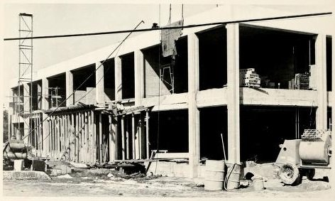 Construction of the William Gaston Science Building in 1967. Source: The Spire Yearbook, Belmont Abbey College, 1967.