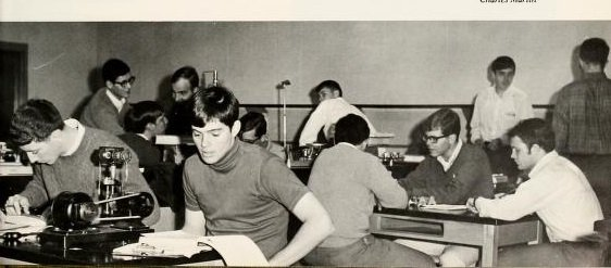 Students participating in lab exercises at the Gaston Science Building. Source: The Spire Yearbook, Belmont Abbey College, 1969.