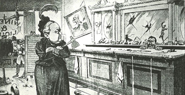 This is a political cartoon by Amelia Moore depicting Carry Nation standing in the wreckage of a bar that she destroyed.