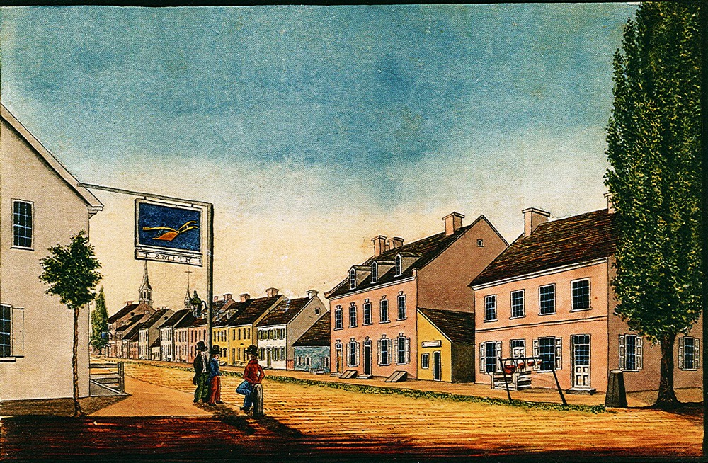 The Golden Plough Tavern as seen from the northwest corner of Pershing and Market. Artist William Wagner created this depiction of the tavern in 1830.
