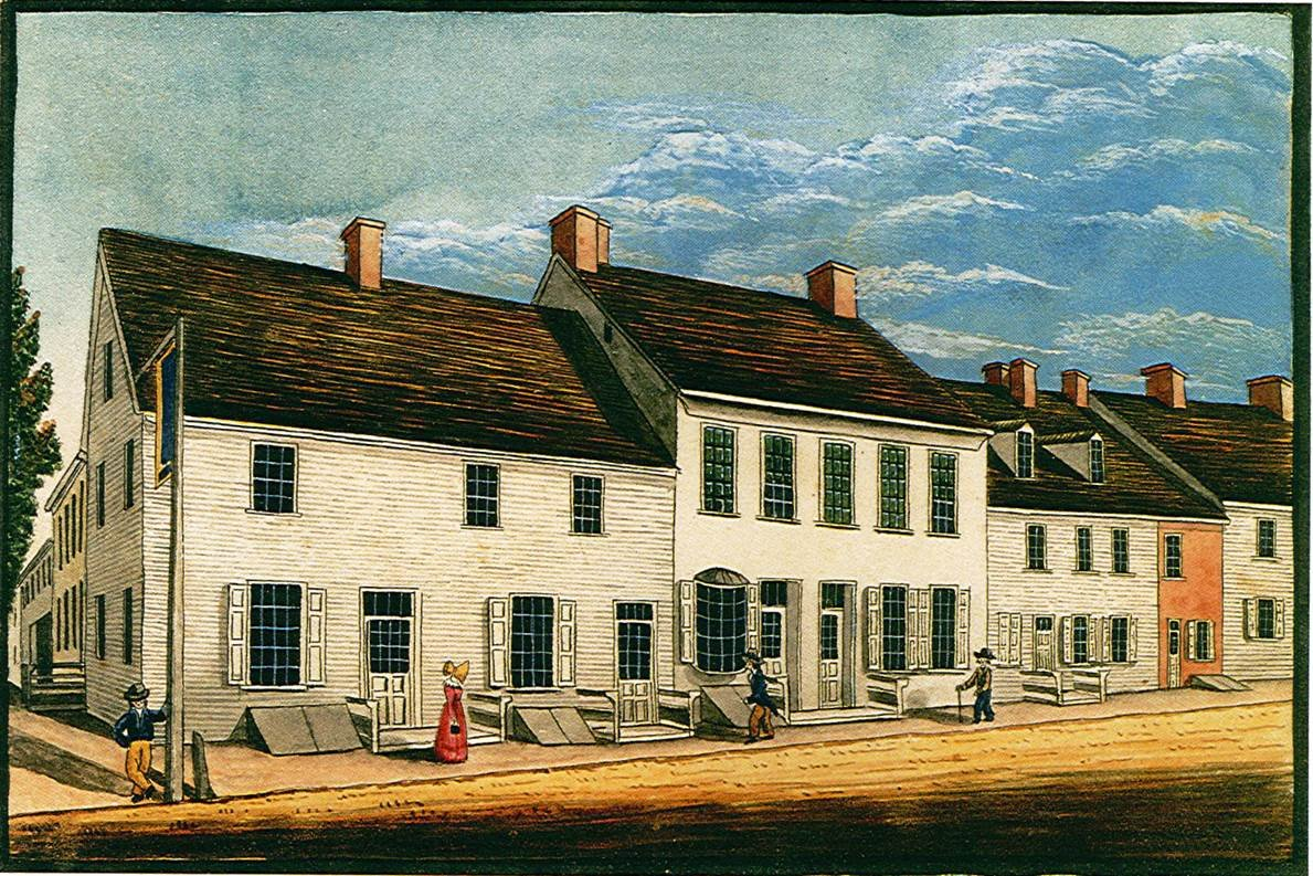 Golden Plough Tavern and General Gates House as they appeared in 1830, depicted by William Wagner.