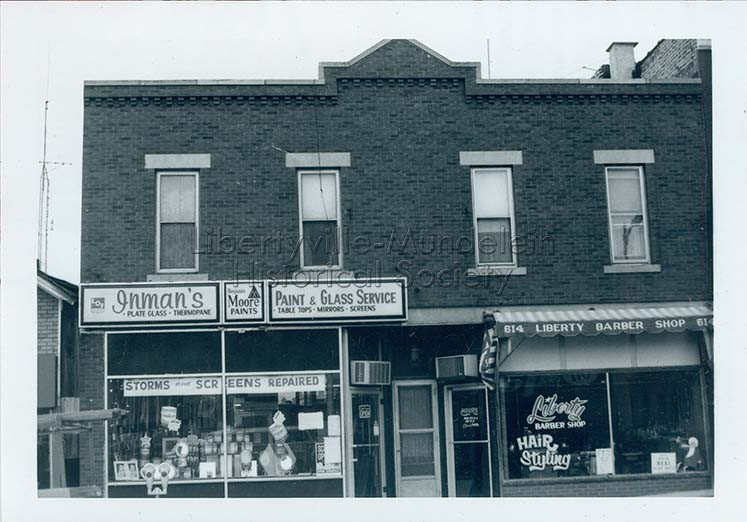 Butler Building, circa 1974-1976; Inman's Paint and Glass, Liberty Barber Shop