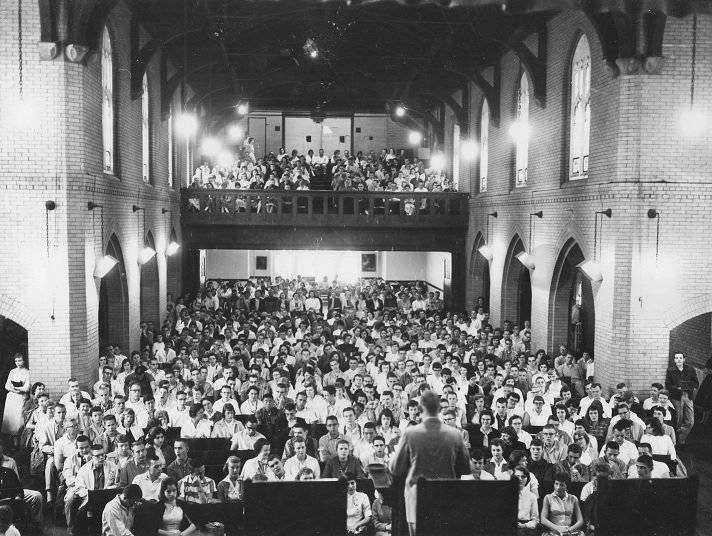 The inside of Brown Chapel. With the inside similar to today, new seats were added years later with an aisle down the middle.