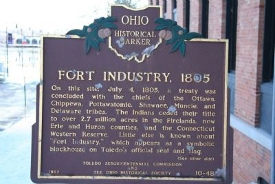 A historical marker with information about the Treaty of Fort Industry. Photo by Dale K. Bennington.