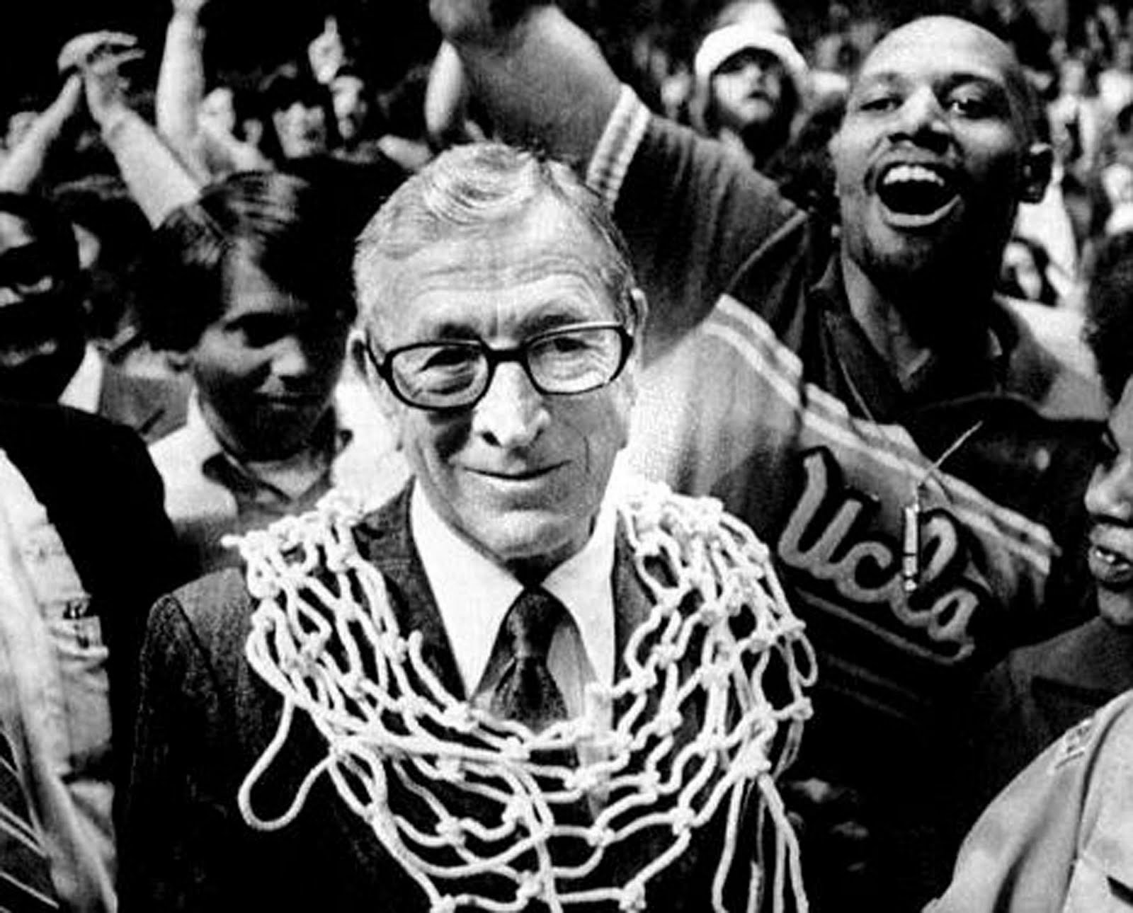 John Wooden after winning a championship