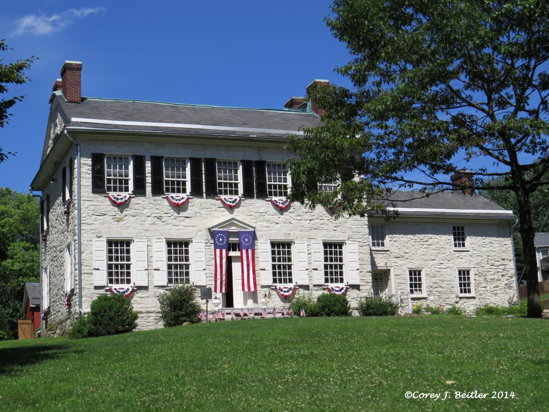 The George Taylor House has sat at this location since 1768.  The kitchen on the right was added around 1800.