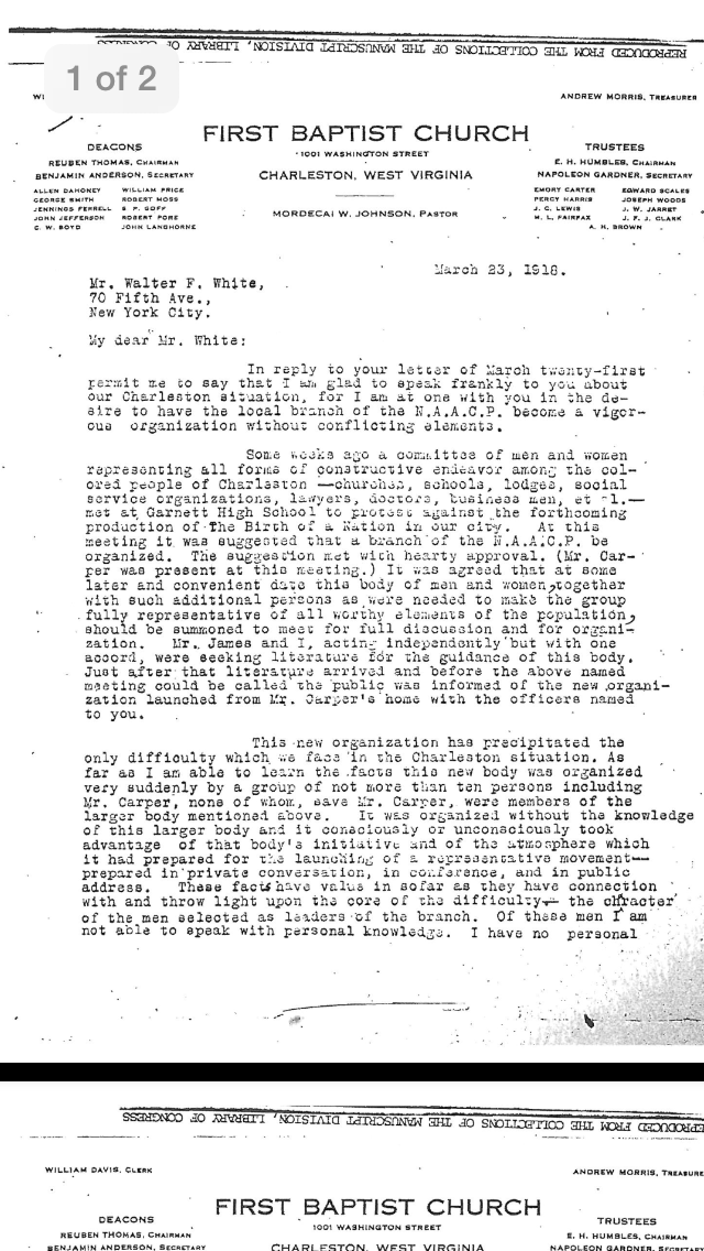 First page of a letter from Pastor M.W. Johnson of First Baptist Church to Mr. Walter F. White discussing the protest and the chapters of N.A.A.C.P.