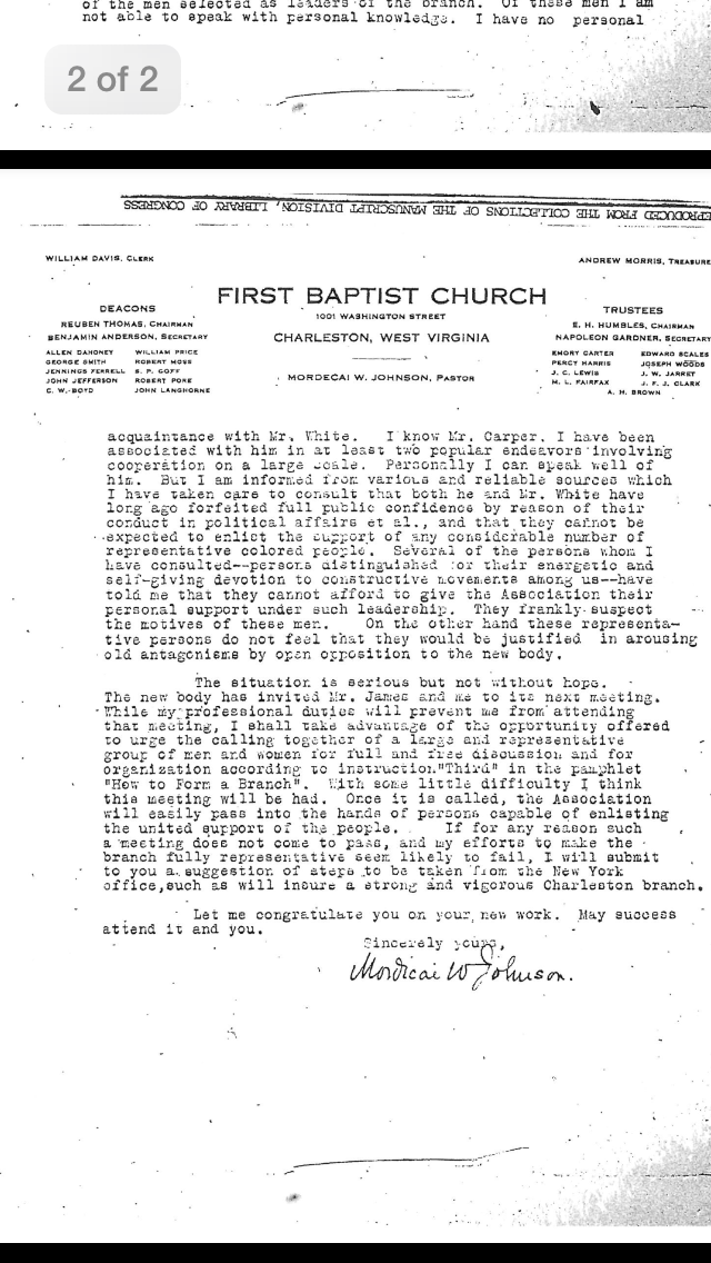 Second page of letter