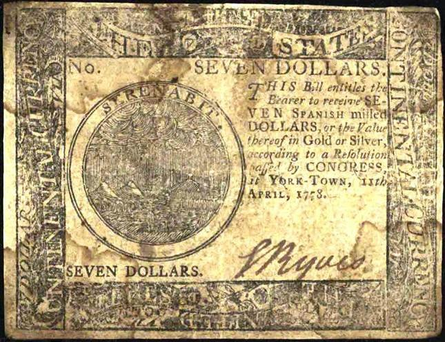 A seven dollar bill printed at the press that was set up in Major Clark's home.