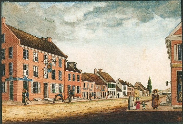 "An 1830 view of Clark's house, from northeast corner of Market and Beaver, by William Wagner. Across the street, you can see part of the building on the northwest corner, which became temporary headquarters for ""Mad"" Anthony Wayne in spring of 1781."