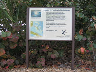 Network to Freedom Trail sign commemorating hundreds of Black Seminoles who escaped from Cape Florida in the early 1820s to the Bahamas.