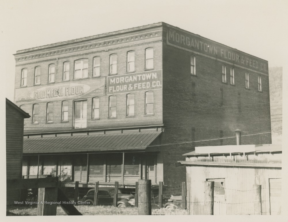 An early photo of the Kincaid and Arnett Feed and Flour Building, ca. 1945