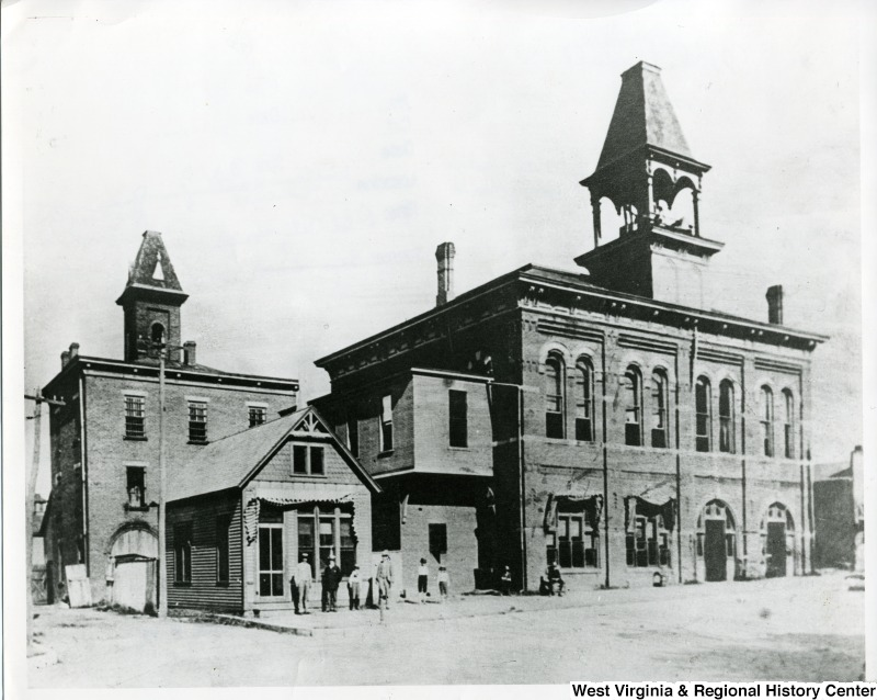 The first courthouse and jail in Huntington, circa early 1890s.