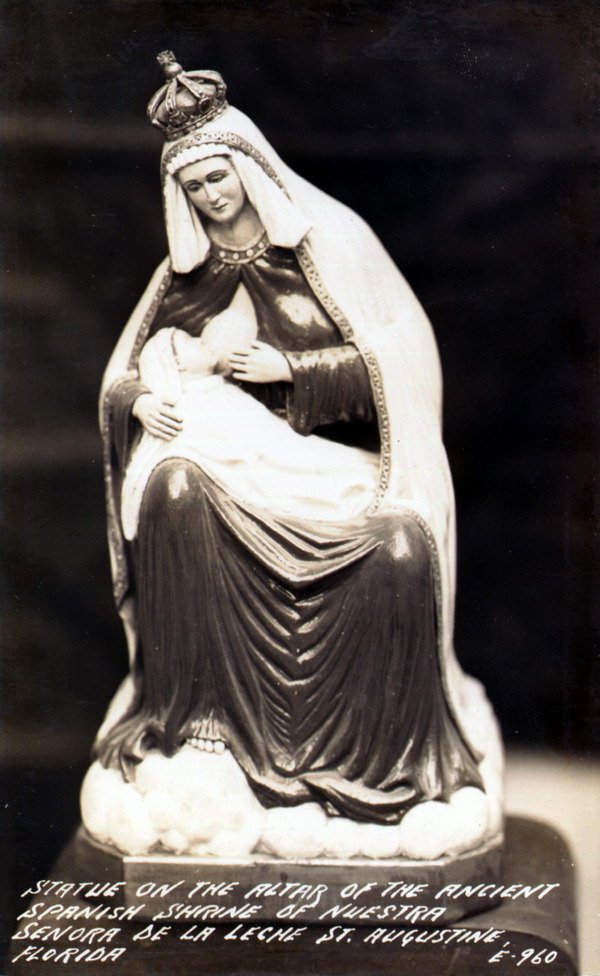 Statue on the altar of the ancient Spanish Shrine of Nuestra Senora de la Leche. Credit: State Library and Archives of Florida