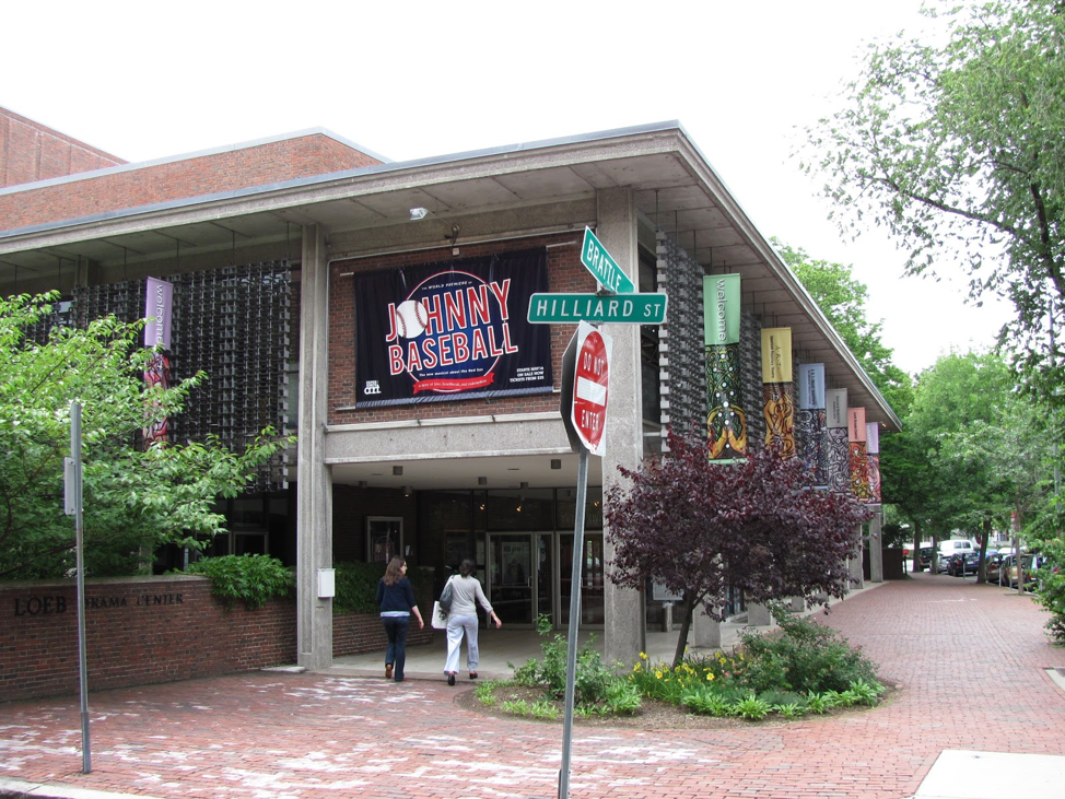 This photo taken in 2010 includes a streetside view of the Loeb Drama Center, located on the campus of Harvard University. (By John Phelan [CC BY 3.0  (https://creativecommons.org/licenses/by/3.0)], from Wikimedia Commons)