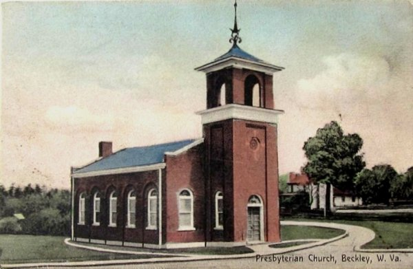 Postcard of the original sanctuary building, which was constructed on a nearby lot in 1909. Image obtained from the Beckley Presbyterian Church.