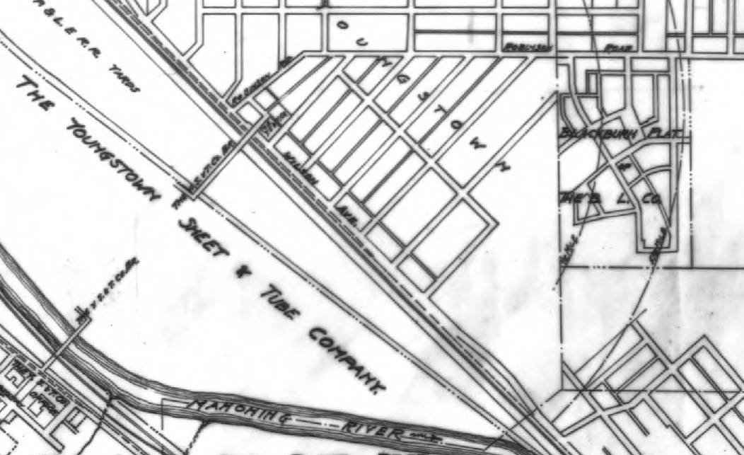 The Blackburn Plat can be seen in the top right corner in this section of a c. 1919 map showing the various housing developments of the Buckeye Land Company in relation to the Youngstown Sheet and Tube Company campus. (Source: Ohio Memory)