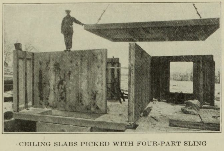 The houses were constructed from precast concrete slabs. (Source: Engineering News-Record)