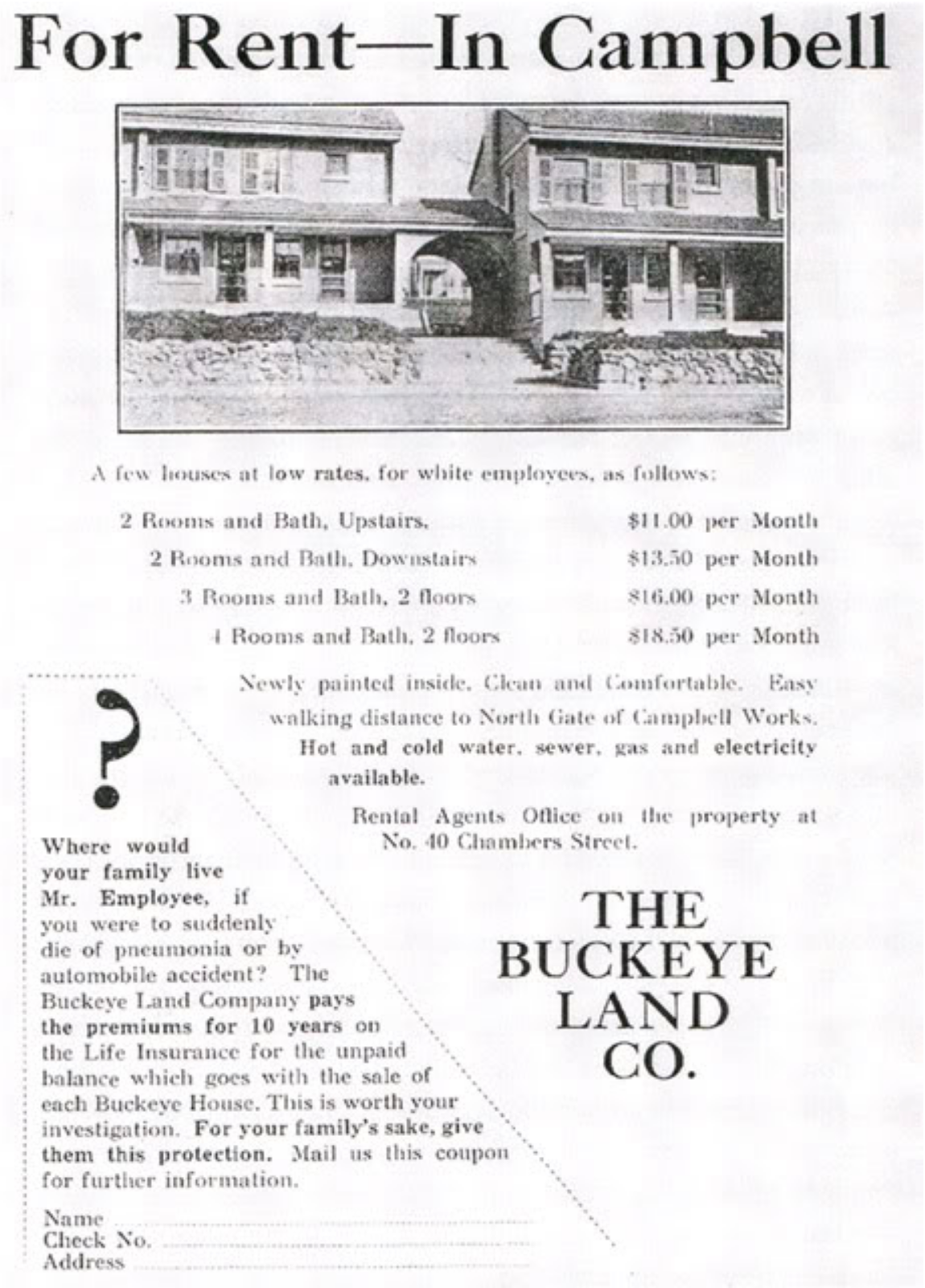 "An advertisement for Blackburn Plat (Campbell) housing specifies the housing was for white employees. The section for African American steelworkers was ""naturally segregated"" with a separate entrance. (Source: Urban Ohio)"