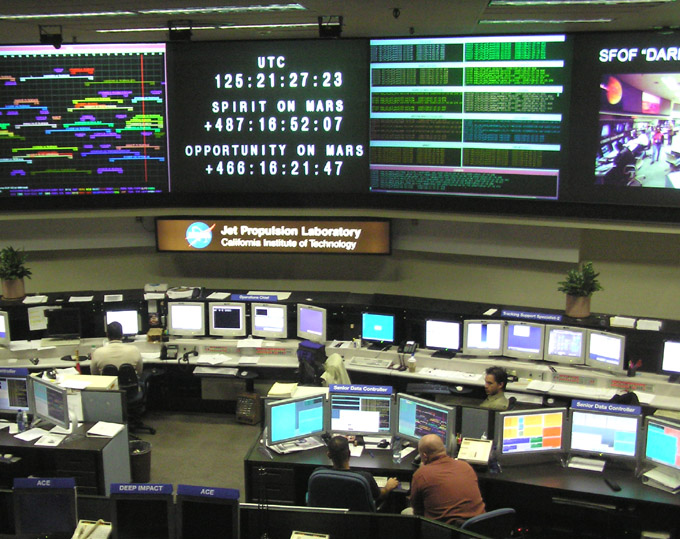 The Control Room at JPL. Photo Courtesy of Alan Mak in the public domain.