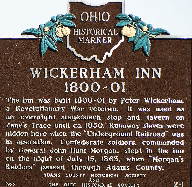 Historical marker of the Wickerham Inn.