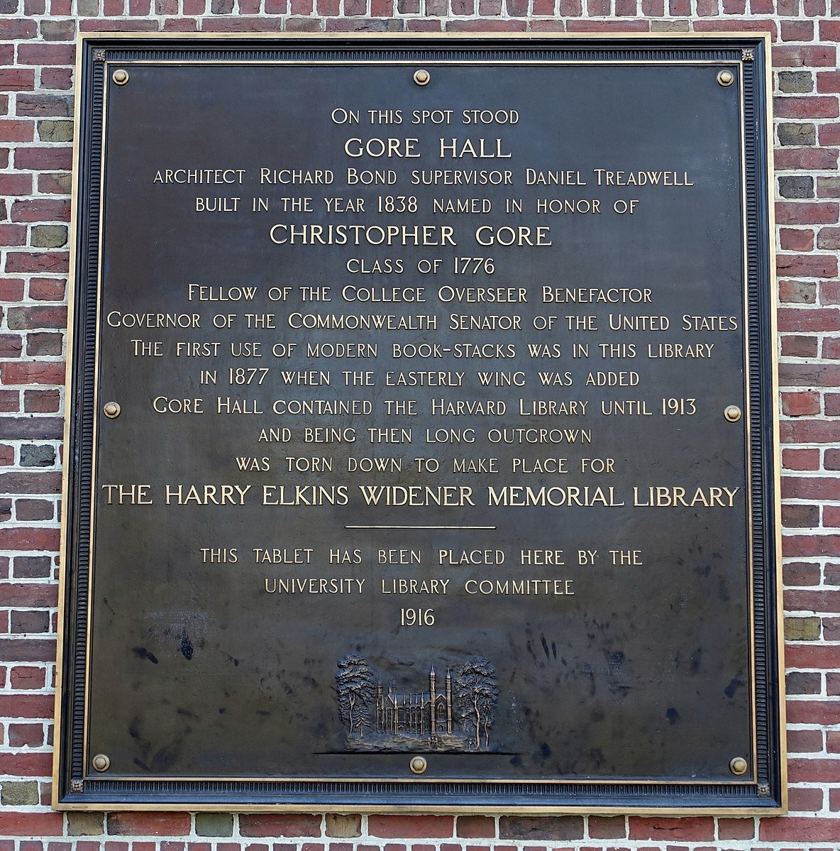 Plaque that sits outside Widener commemorating Gore Hall.