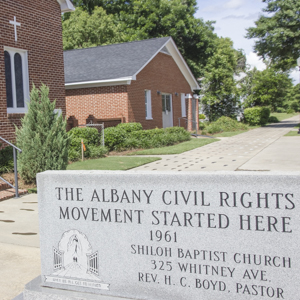 Albany Civil Rights Movement marker at Shiloh Baptist Church.
