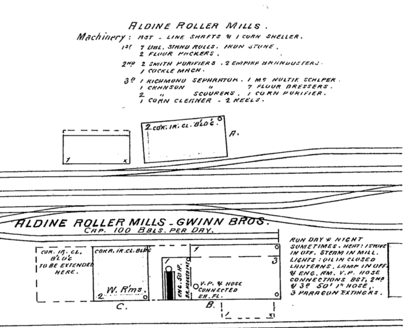 Sketch of the Gwinn Bros. Mill from the 1893 Sanborn fire maps