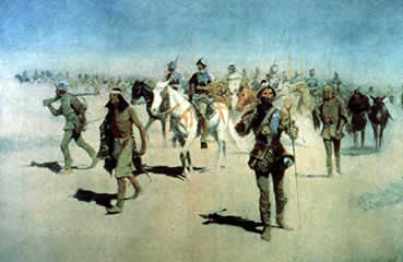 A painting depicting the men from Coronado's expedition upon their arrival at Awatovi
