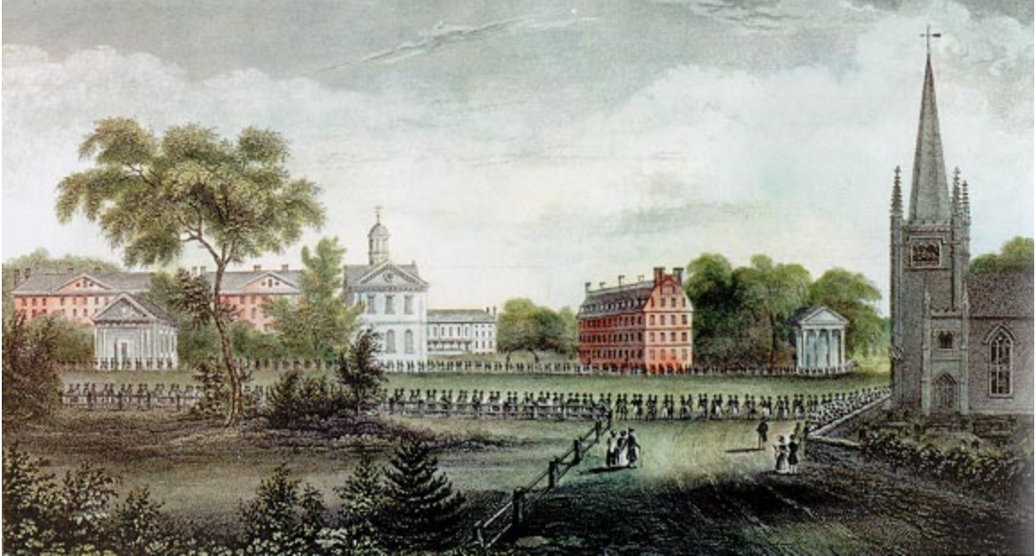 This illustration was created by the daughter of a 19-century Harvard president and depicts a procession of Harvard alumni leaving the Meeting House of First Parish nearly two hundred years ago.Photo by Eliza Susan Quincy, image in the public domain.