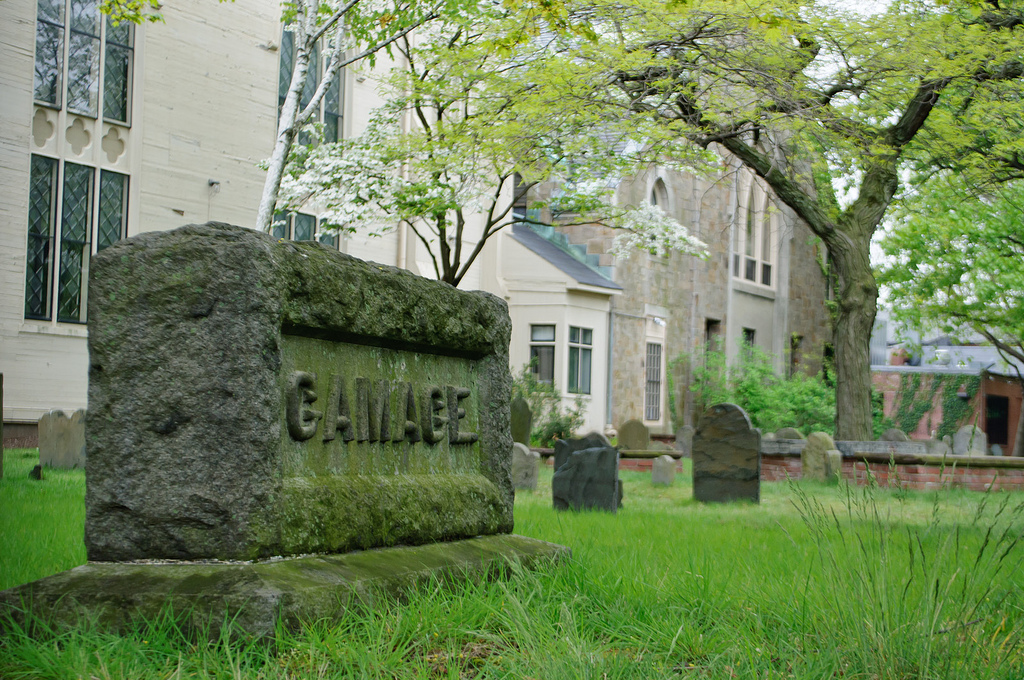 The Old Burying Ground in Cambridge is located on the property of First Parish Church.