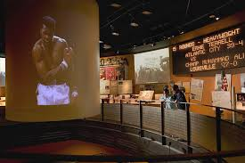 More exhibits of Muhammad Ali, showing the big projector that displays key Muhammad Ali fights.
