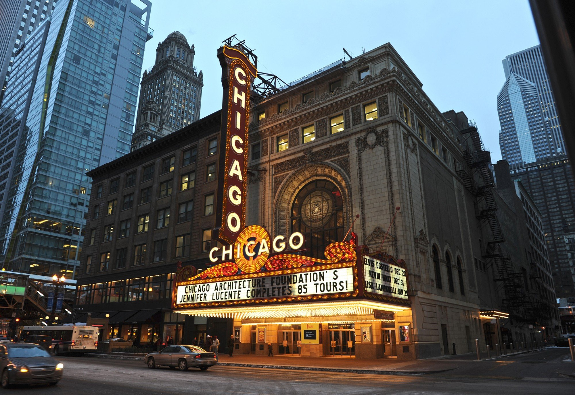 Chicago Theatre facade and marquee
