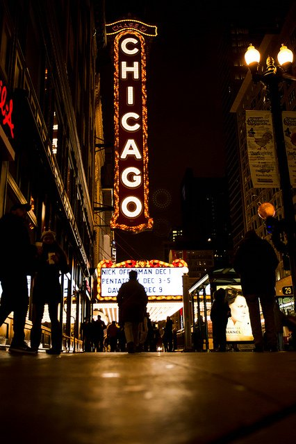 Chicago Theatre vertical marquee sign