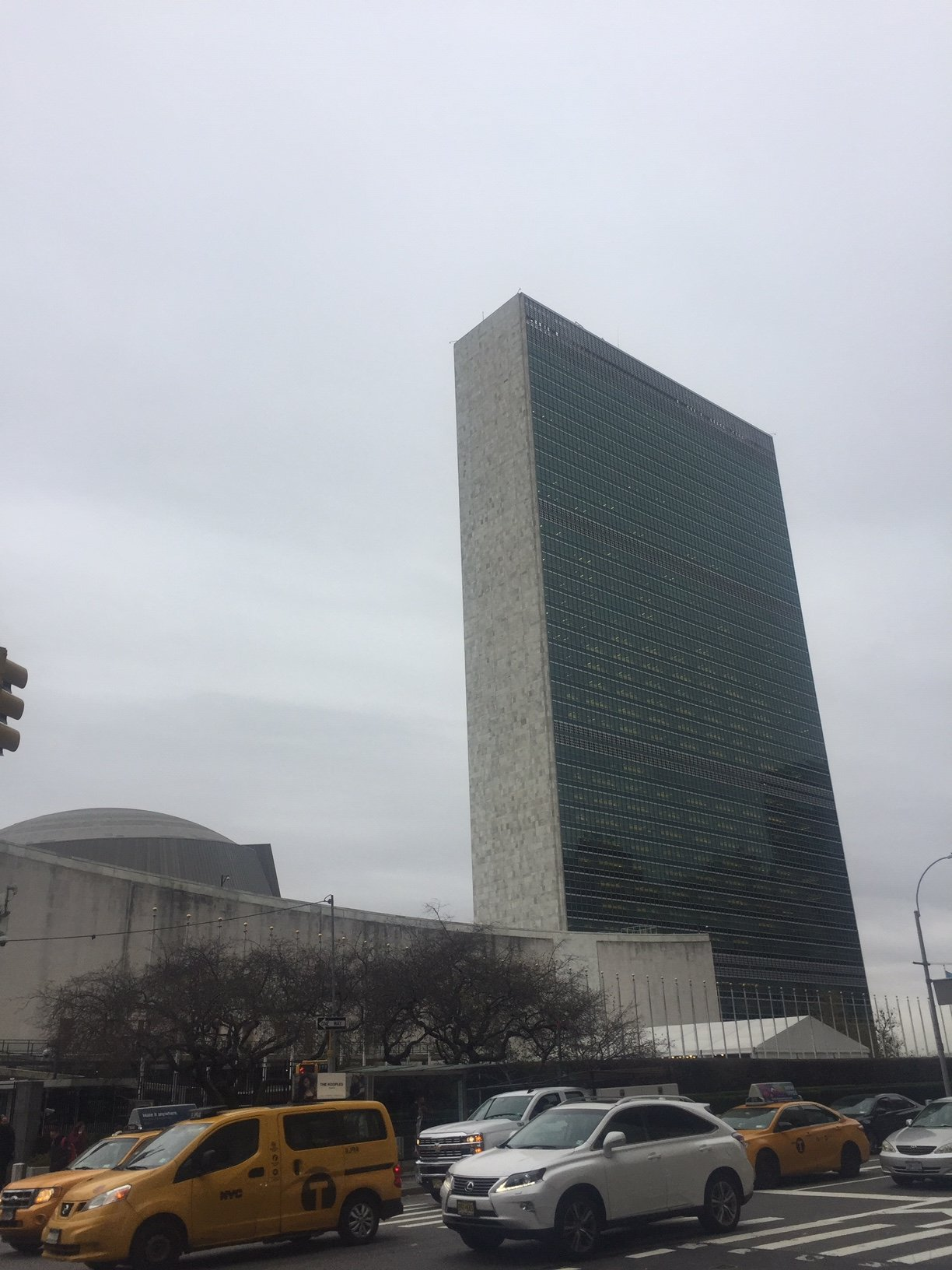 The Secretariat Building and General Assembly on a cold November day.