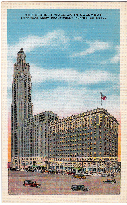 Upon its completion, two wings of the building served as a ballroom and 600-room addition for the Deshler-Wallick Hotel. This was one of the largest largest hotels in the world. It was demolished in 1970.
